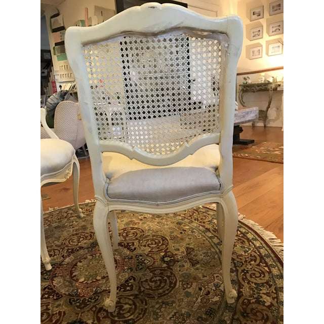 Louis Style Carved Wood White Chairs - a Pair - Image 9 of 10