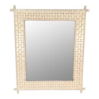 Woven Leather Bamboo Framed Wall Mirror For Sale
