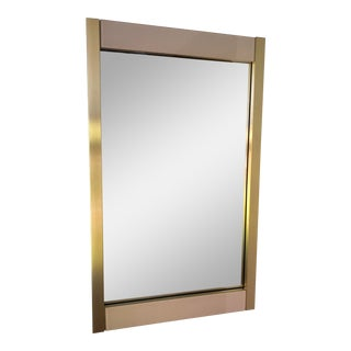 1980s Modern Brass and Pink Glass Mirror For Sale