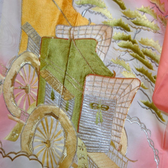 Asian Gold Embroidery Japanese Silk Kimono For Sale - Image 3 of 7