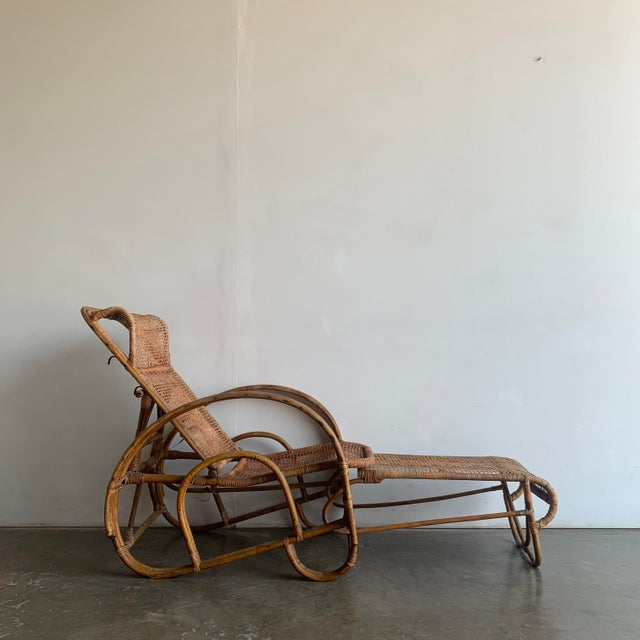 Woven Cane Lounge Chair with Pull Out Foot Rest For Sale - Image 4 of 13