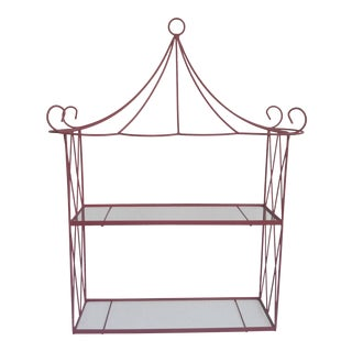Vintage Pink Wire Pagoda Wall Shelf