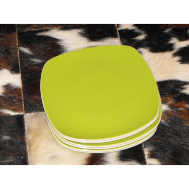 """6 Mid-century Modern Style Avocado Dinner Plates 10 1/4"""". Beautiful color. This set has only been used handful of times...."""
