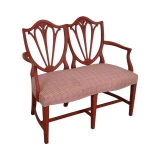 Hepplewhite Style Red Painted Custom Quality Double Shield Back Settee For Sale
