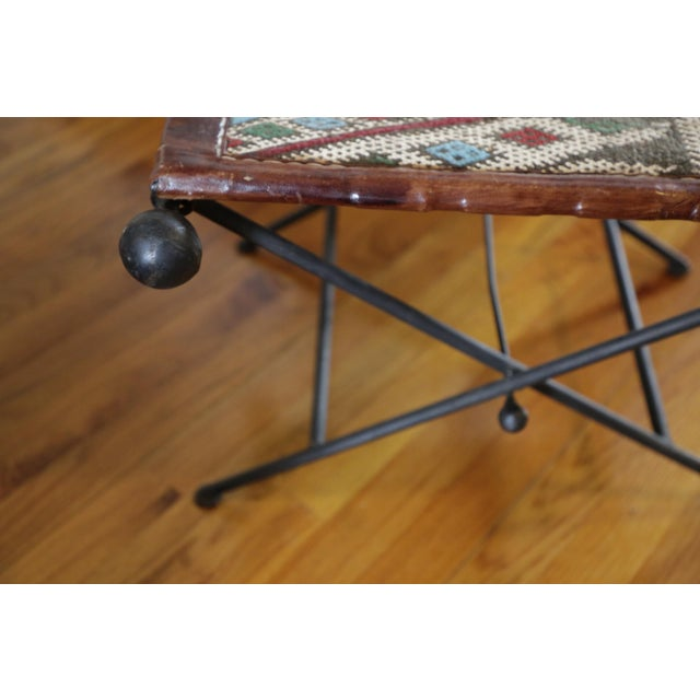 Funky Moroccan Seat/Chair Leather, Iron and Kilim For Sale - Image 4 of 8