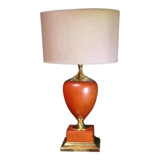 Mid-Century Le Dauphin Leather Table Lamp, France, Signed For Sale