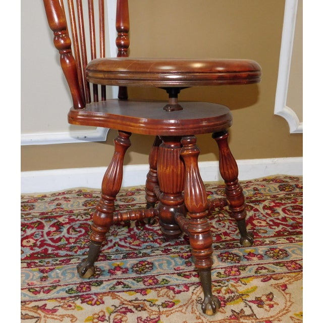 Antique Maple & Walnut Victorian Era Windsor Piano Chair Stool c1900 For Sale - Image 4 of 9