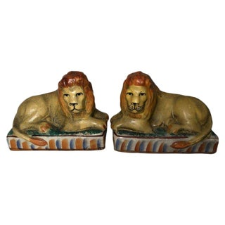 Pair of Vintage Ceramic Lion Bookends For Sale