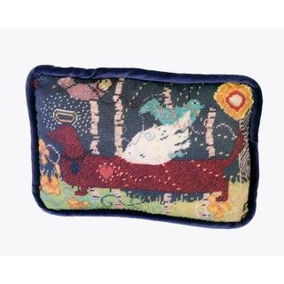 Custom Dachshund Velvet Feather Down Pillow, Original Design For Sale