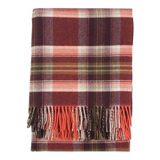 Pendleton Red Plaid Merino Wool Throw For Sale