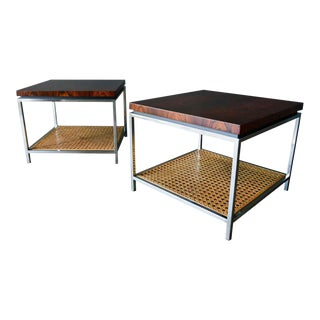 Rosewood, Chrome and Cane Side Tables by Milo Baughman, Circa 1970 For Sale
