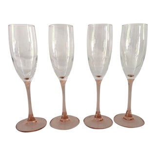 1980s Mid-Century Modern French Pink Stemmed Champagne Glasses - Set of 4