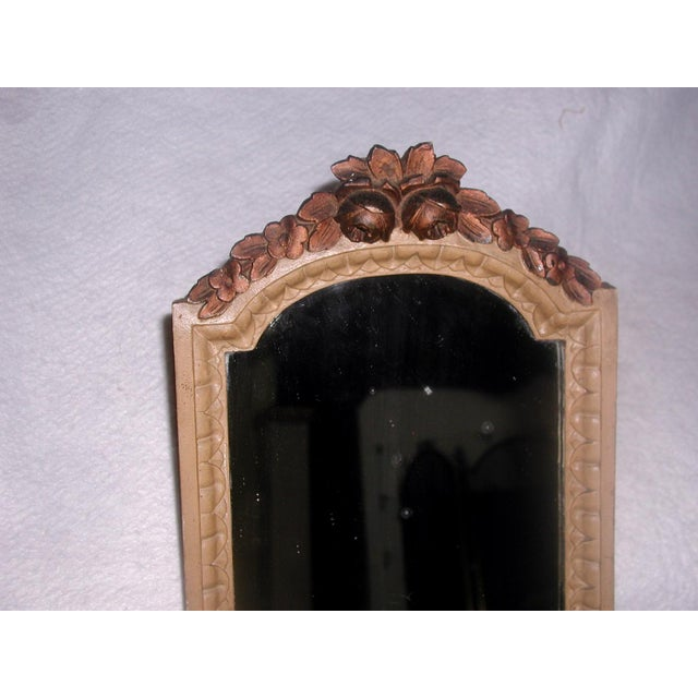 Antique 19th C. Petite Carved Wooden Arched Mirror For Sale - Image 6 of 7