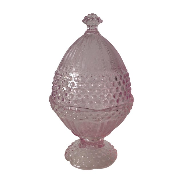 Pink Dome-Lidded Hobnail Candy Dish - Image 1 of 8