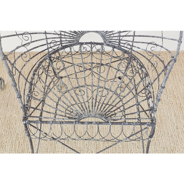 Metal Set of Four French Iron and Wire Garden Chairs For Sale - Image 7 of 13