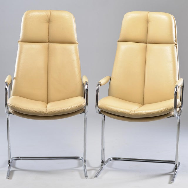 Tim Bates for Eleganza Collection at Pieff Chrome and Leather Armchairs - a Pair For Sale - Image 13 of 13