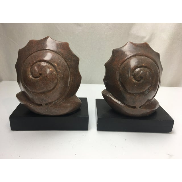 Engraved Limestone Inlay : Hand carved marble wood snail bookends a pair chairish