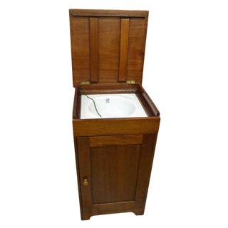 English George V Mahogany Cabinet With Enameled Nautical Sink For Sale