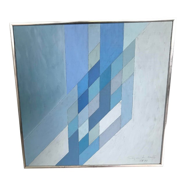 1970s Vintage Abstract Blue Geometric Painting For Sale