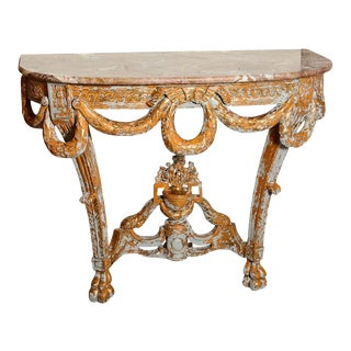 Italian Mid-Century Marble and Wood Console Table For Sale