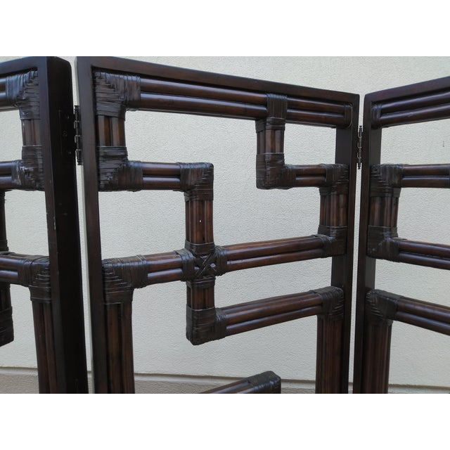 Bundled Reed Rattan Chinese Chippendale Room Divider For Sale In Miami - Image 6 of 10