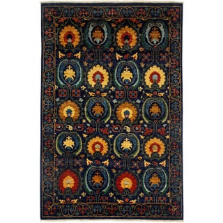 """Suzani Hand Knotted Area Rug - 5'3"""" X 8' For Sale"""