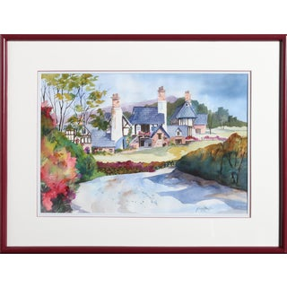 Ginny Masters - Country Farmhouse Framed Watercolor Painting For Sale
