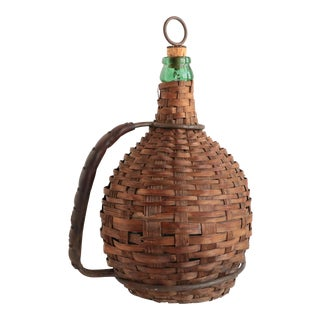 Wicker Wrapped Wine Jug with Leather Handle