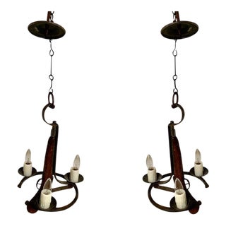 Horse Shoe / Pistol Pendant Lights - a Pair For Sale