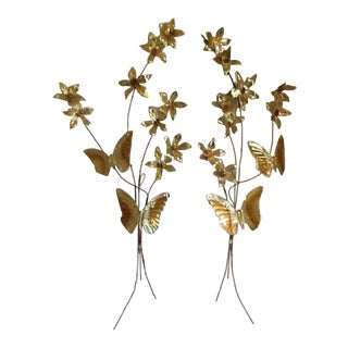 Mid-Century Modern Brass/Copper Butterflies & Flowers Wall Art - Set of 2