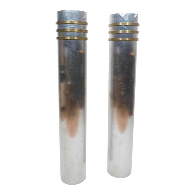 Modernist Art Deco Stainless Steel and Bronze Decorator Columns - a Pair For Sale