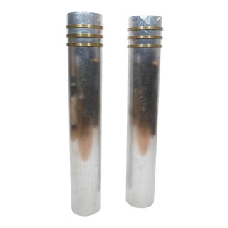 Modernist Art Deco Stainless Steel and Bronze Decorator Columns Plant Holder - a Pair For Sale