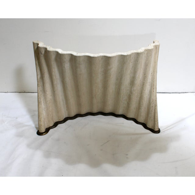 Modern Stone and Bronze Console Coffee Table Base - Image 2 of 6