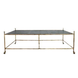 A Rare Oversized Jansen Brass and Leather Coffee Table on Faux Bamboo Brass Base For Sale