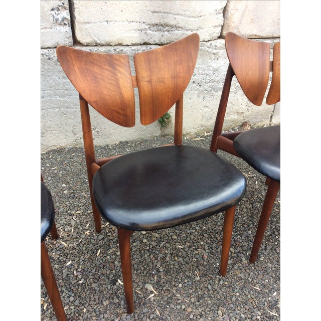 Ostervig Teak Leather Butterfly Chairs - Set of 5 - Image 4 of 9