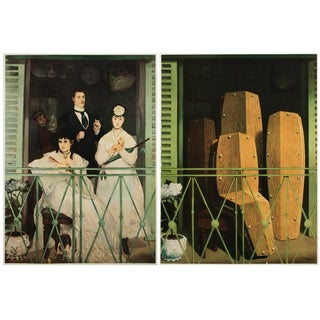 """Manet and Magritte, """"The Balcony"""" Original Lithograph and Photogravure - a Pair For Sale"""