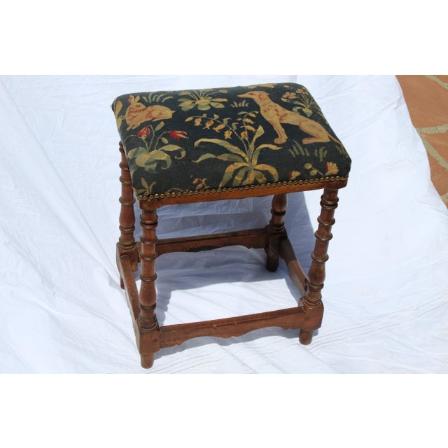 17th C. French Needlepoint Stool For Sale - Image 4 of 8