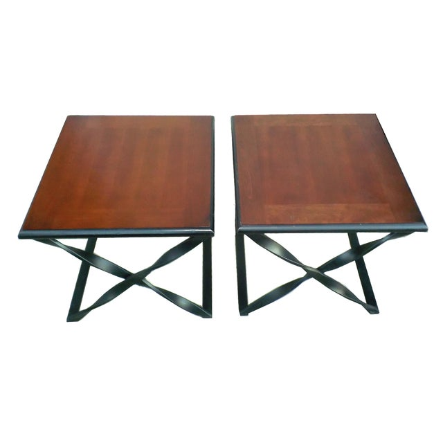 Rustic Wood & Wrought Iron Side Tables - A Pair - Image 5 of 5