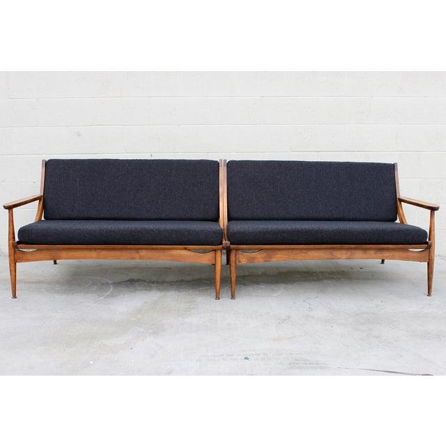 Walnut Danish Minimalist Spindle Back Sectional Sofa - Image 11 of 11