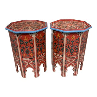Hand Painted Octagonal Morrocan End Tables - a Pair For Sale