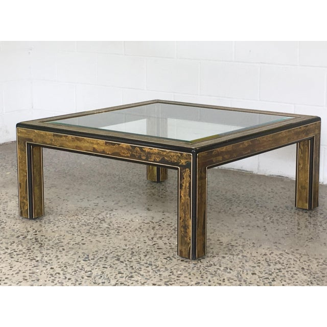 Mastercraft Black Lacquer and Etched Brass Cocktail Table by Bernard Rohne For Sale - Image 5 of 10