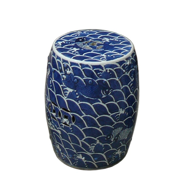 Blue And White Porcelain Round Fishes Stool Table - Image 2 of 6