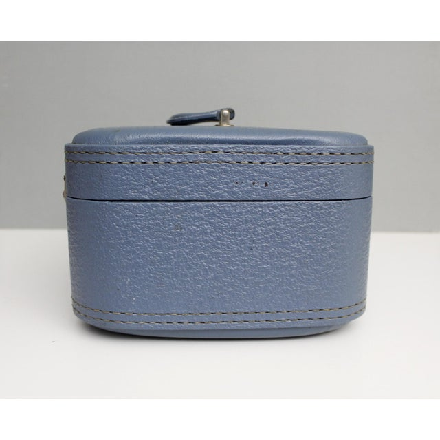 Traditional Vintage Blue Hardshell Train Case Suitcase Luggage Makeup Cosmetic Travel Case For Sale - Image 3 of 13