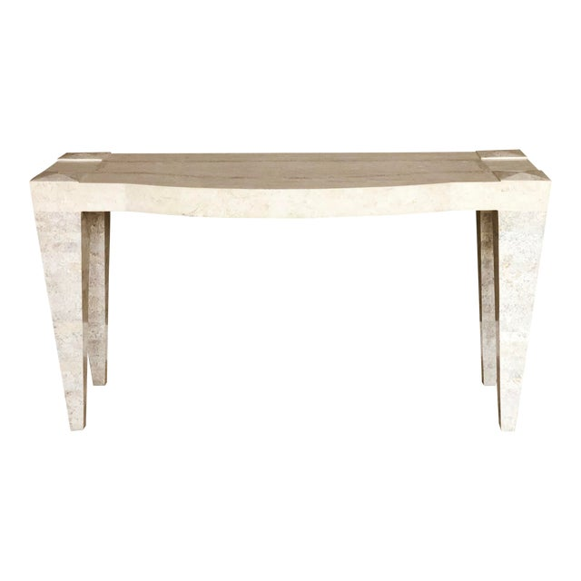 1980s Postmodern White Tessellated Marble Console For Sale