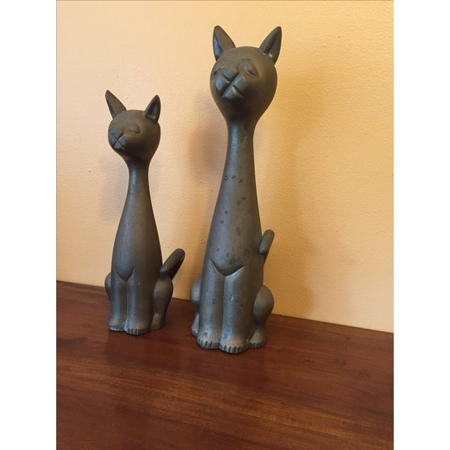 Mid Century Modern Brass Cats - A Pair - Image 2 of 10