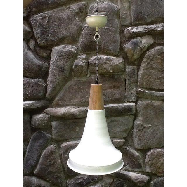 Double Dip Enamel Metal & Wood Pendant Light - Image 2 of 3