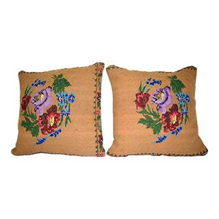 Needlepoint Tapestry Aubusson Woven Small Kilim Pillow Cover, Floral Design Square Kilim Pillow 20'' X 20'' (50 X 50 Cm) For Sale