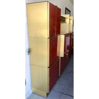 1970's Glass & Brass Wall Unit by Ello Preview