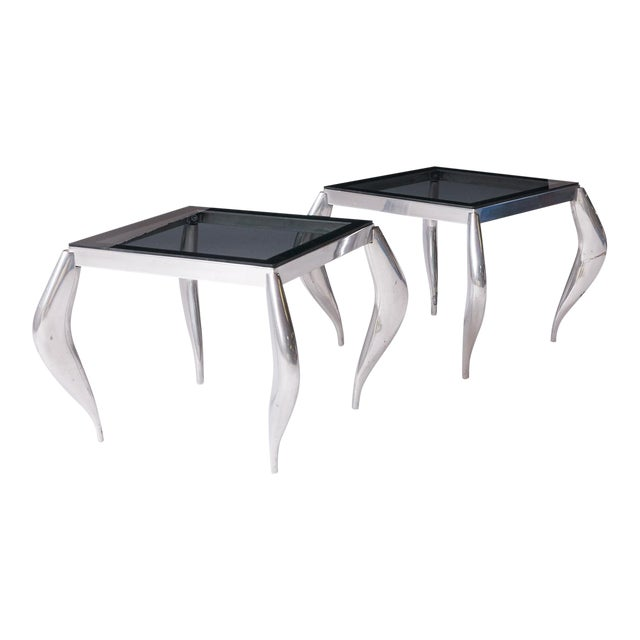 wavy legged end tables in the style of Jordan Mozer - A Pair For Sale