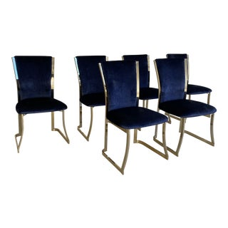 Vintage Blue Mohair and Brass Dining Chairs - Set of 6 For Sale